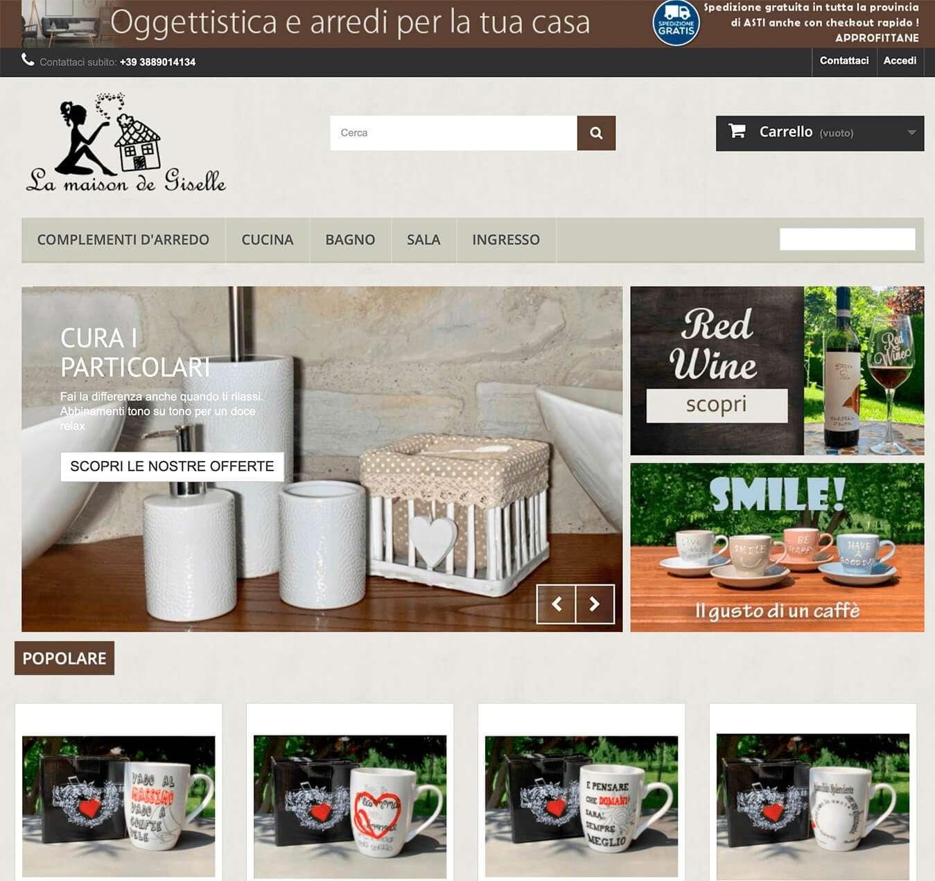 prodotti per la casa complementi Asti la maison de Giselle Essetre e-commerce