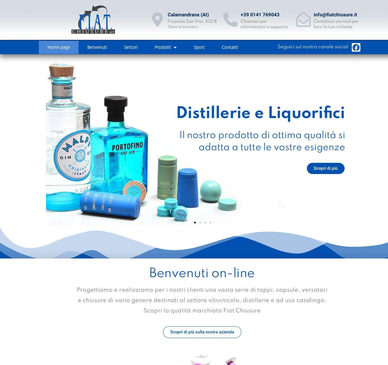 sito azienda produttrice di tappi capsule versatori Asti Essetre