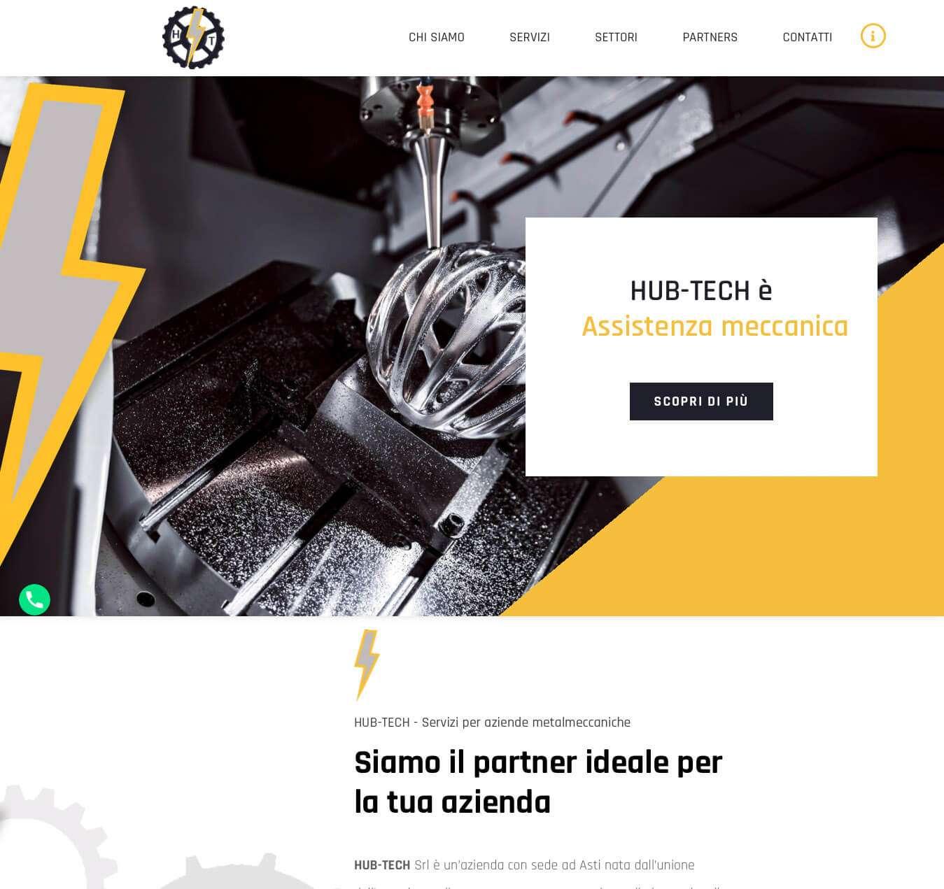 sito monopagina ditta manutenzione assistenza meccanica Asti Hub-Tech Essetre